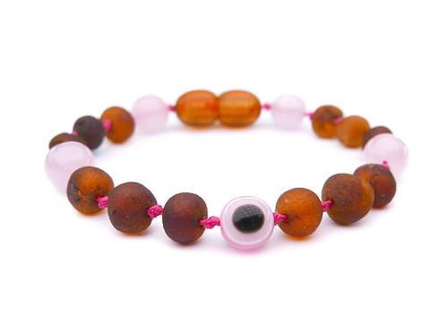 Maximum strength raw amber & rose quartz teething, reflux & colic anklet / bracelet