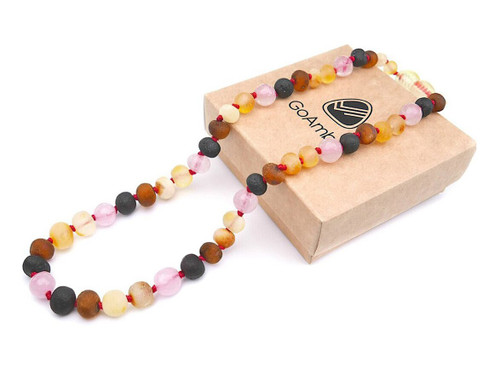 Maximum strength raw amber and pink quartz teething, reflux and colic necklace