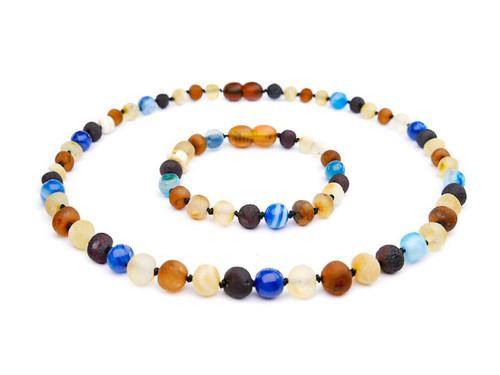 Blue agate amber teething set
