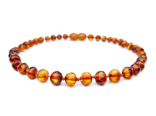 Adult amber anklet cognac baroque beads