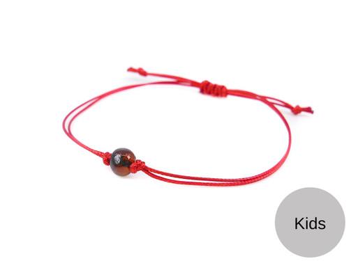 Kids Red String Kabbalah Bracelet with dark cherry polished amber