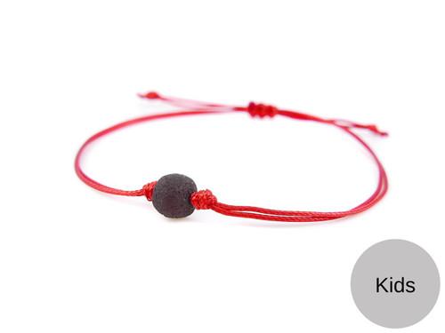 Kids Red String Kabbalah Bracelet with dark cherry raw amber bead