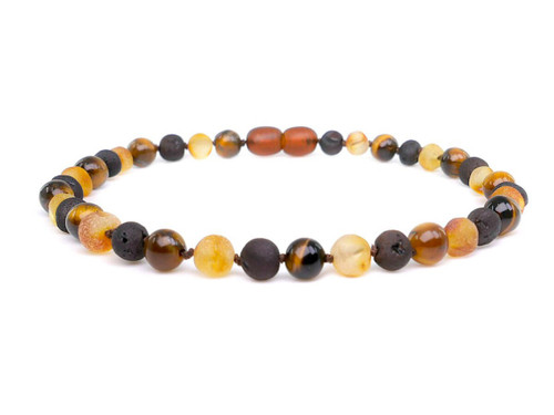 Adult amber anklet with Tiger Eye beads