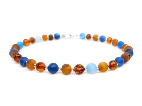 adult amber anklet matte blue agate