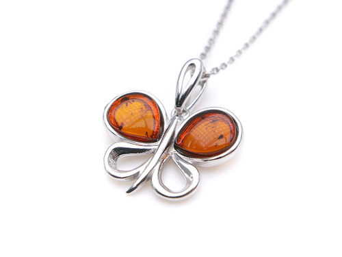 Baltic amber butterfly pendant in sterling silver