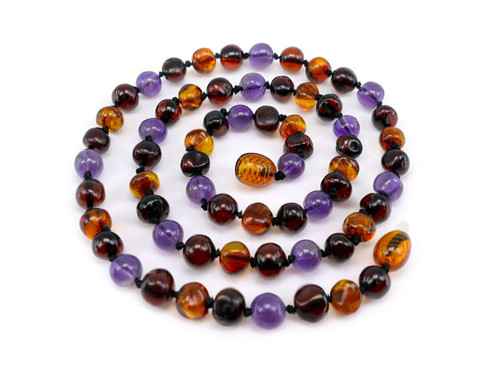 Amethyst adult amber necklace