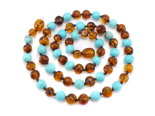 Turquoise adult amber necklace