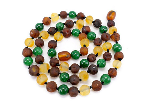 Jade adult amber necklace with raw unpolished beads