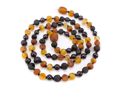Garnet adult amber necklace