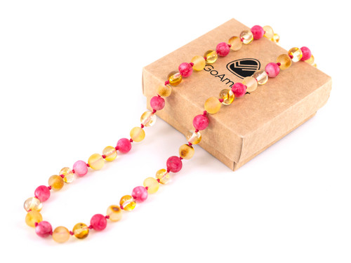 pink amber teething necklace