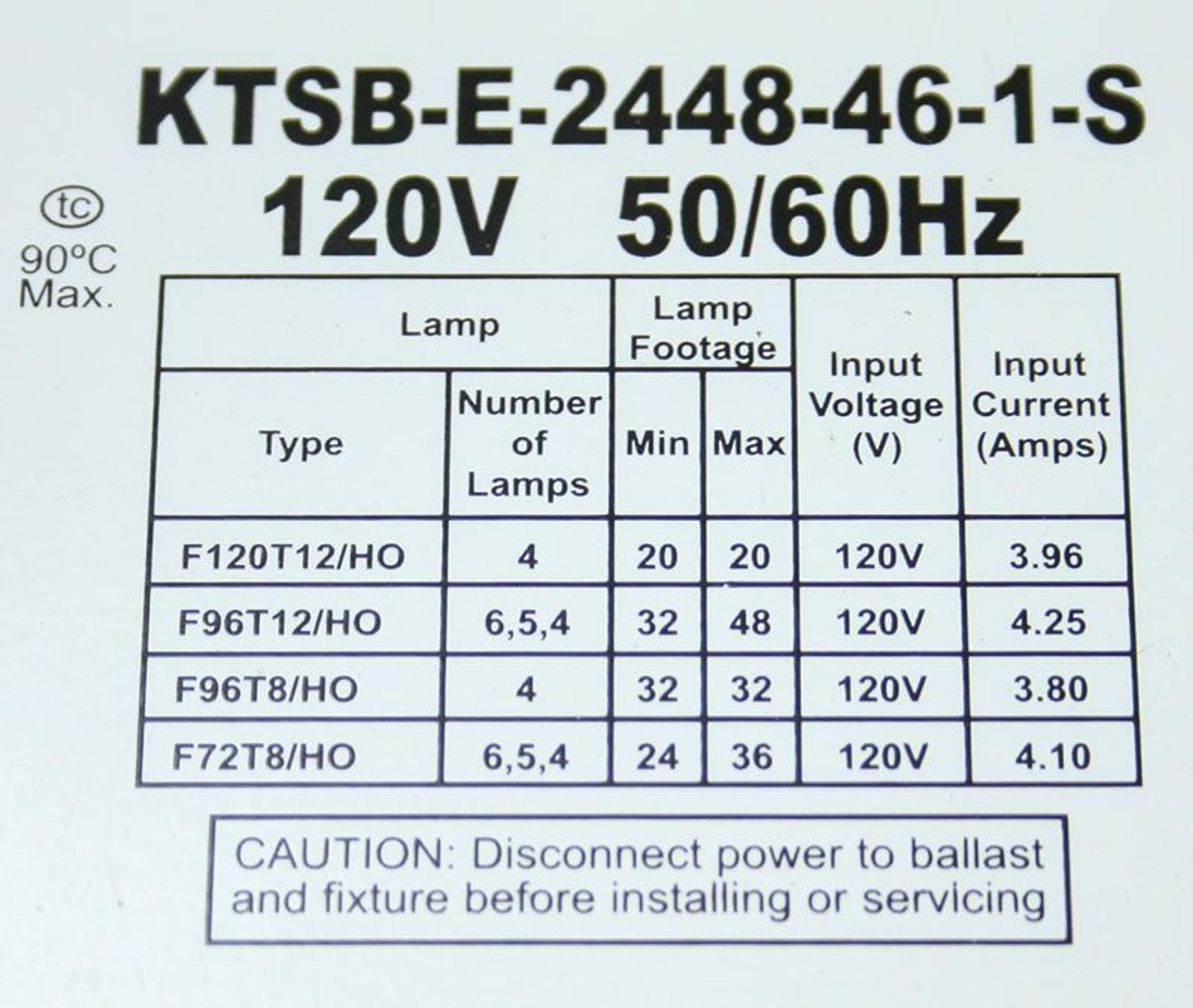 Keystone KTSB-E-2448-46-1-S Electronic Sign Ballast 120V on