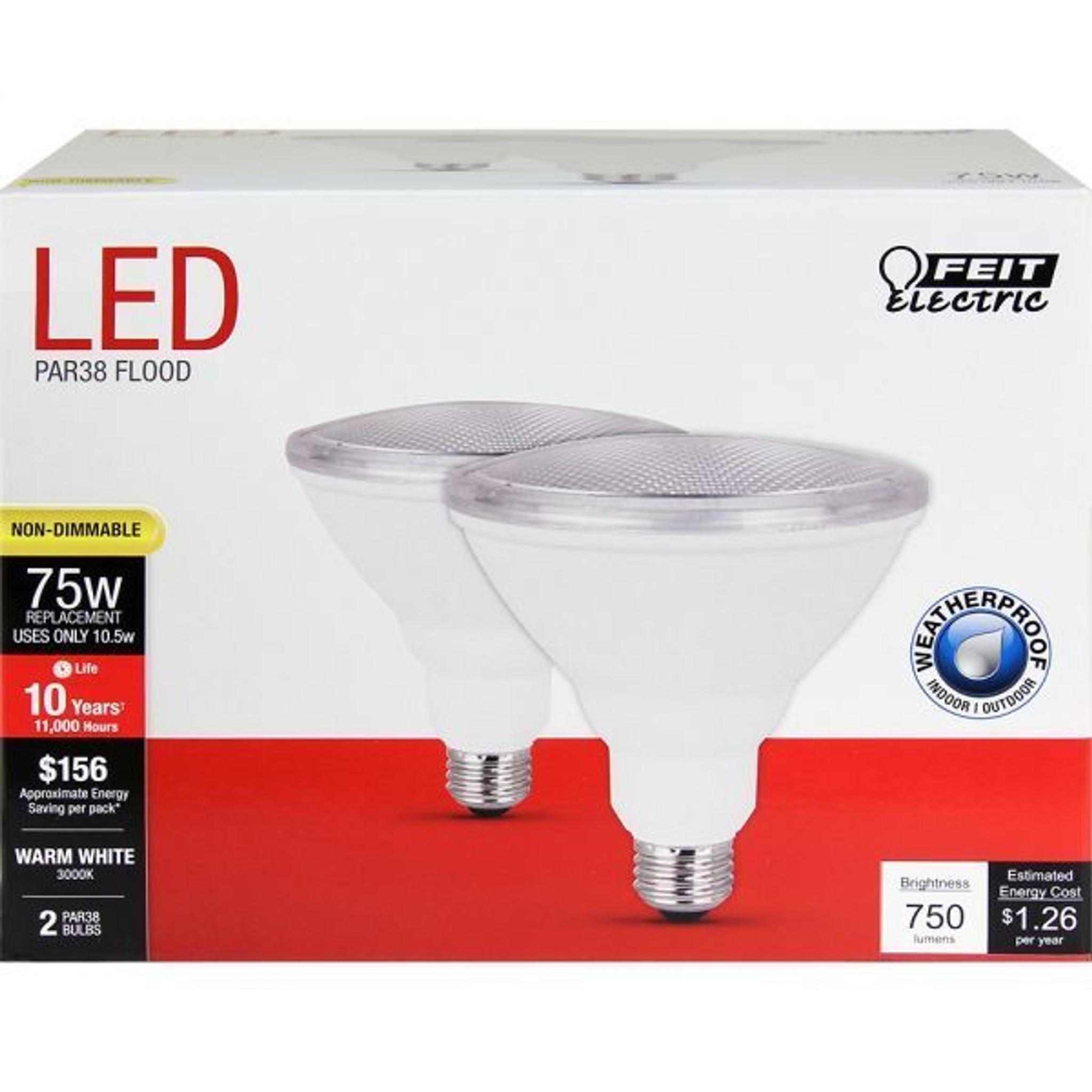 Feit Electric PAR3875/10KLED/2 10 5W LED PAR38 3000K 2-Pack