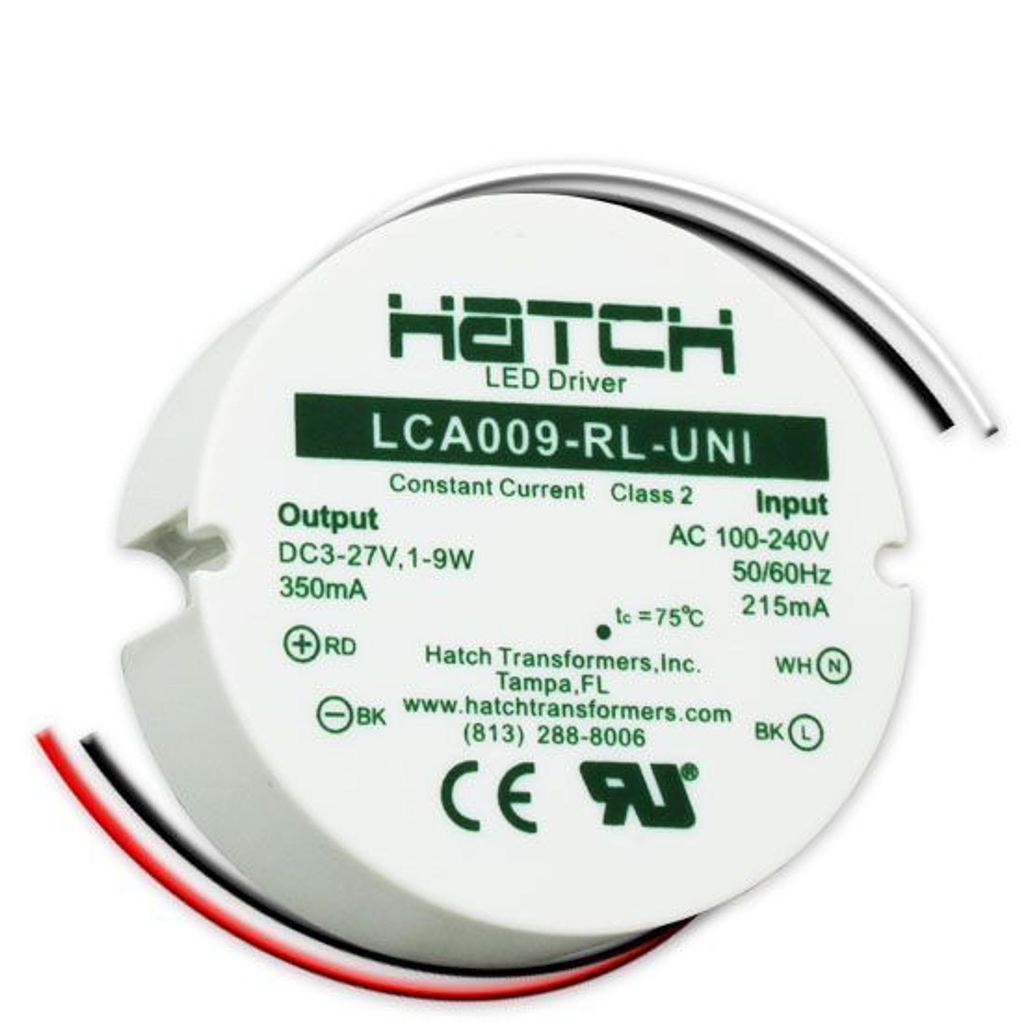 Hatch Led Drivers >> Hatch Lca009 Rl Uni Led Driver 1 9w Constant Current 350ma 3 27v