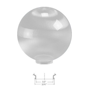 "Replacement Clear 12"" Outdoor Prismatic Acrylic Post Globe Cover 