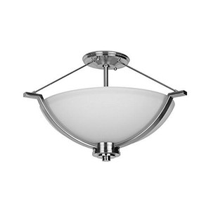 Sunset F17006-80 Abbot White Glass 3 Light Semi Flush Overhead Light Fixture