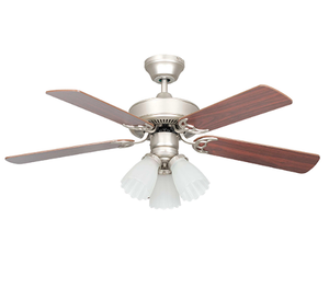 "Sunset CF42848-53-L 42"" 5-Silver Oak/Rosewood Blades Satin Nickel Heritage Home Ceiling Fan with Light Kit"