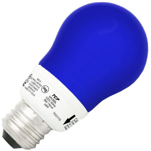 TCP 8A08BL 8W A19 Blue Dimmable CCFL Self Ballasted Light Bulb