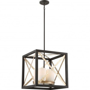 Nuvo Lighting 60-6134 Boxer Matte Black With Antique Silver Accents 4 Light Pendant With Satin White Glass