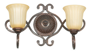 Sunset F5291-61 Graham Sandlewood Glass 2 Light Vanity Light Sconce Fixture