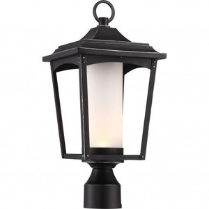 Nuvo Lighting 62-825 Essex Sterling Black Outdoor LED Post Lantern With Etched Glass