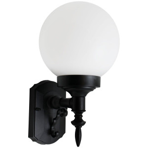 White Globe Composite Plastic Exterior Light Fixture with Black Housing