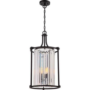 Nuvo Lighting 60-5772 Krys Aged Bronze 4 Light Crystal Foyer Fixture With 60w Vintage Lamps Inc.