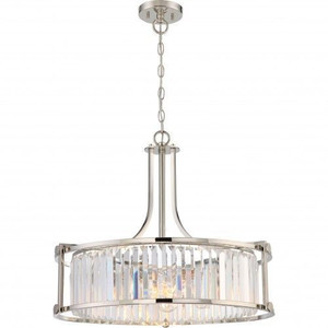 Nuvo Lighting 60-5761 Krys Polished Nickel 4 Light Crystal Pendant With 60w Vintage Lamps Inc.