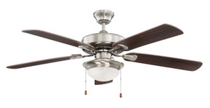 "Sunset CF52831-50-LED-QC 52"" 5-Rosewood/Dark Walnut Blades Quick Connect Stainless Steel Ceiling Fan with LED Light"