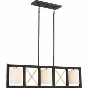 Nuvo Lighting 60-6133 Boxer Matte Black With Antique Silver Accents 3 Light Island Pendant With Satin White Glass