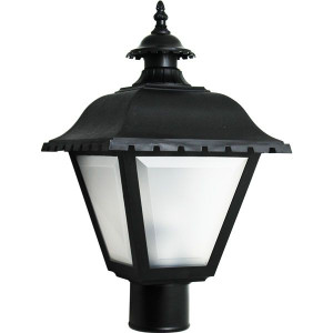 75W Max Black Lantern Style Post Top Light Frosted Lens