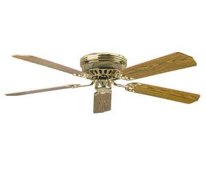 "Sunset CF52142-10 52"" 5-Light/Dark Oak Blades Polished Brass Hugger Ceiling Fan"