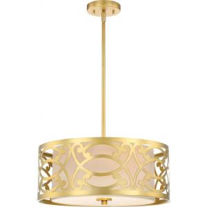 Nuvo Lighting 60-5964 Filigree Natural Brass 3 Light Pendant With Beige Linen Shade Natural Brass