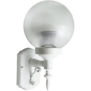 18W CFL Elegant Porch Light Clear Prismatic Globe White Housing 3500K