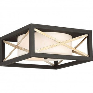 Nuvo Lighting 60-6132 Boxer Matte Black With Antique Silver Accents 2 Light Flush Fixture With Satin White Glass