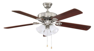 """Sunset CF52836-50-LED-QC 52"""" 5-White Blades Quick Connect Stainless Steel Ceiling Fan with LED Light"""