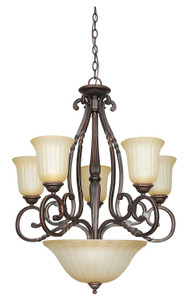 Sunset F5298-61 Graham Sandlewood Glass 8 Light Chandelier