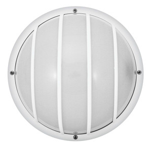White Outdoor Incandescent Round Nautical Flush mount with Grille 8 in