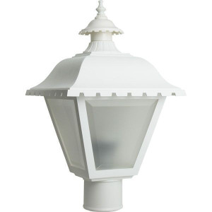 9W LED White Lantern Style Post Top Light Frosted Lens 2700K