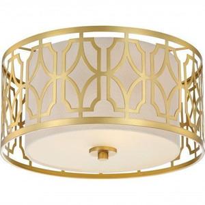 Nuvo Lighting 60-5931 Filigree Natural Brass 2 Light Flush Fixture With Beige Linen Shade Natural Brass