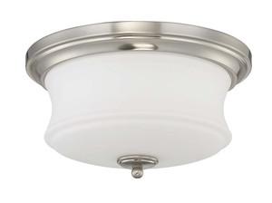 Sunset F20002-80 Amala White Glass 2 Light Flush Mount Overhead Light Fixture