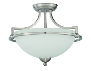 Sunset F16096-80 Preston Opal Etched Glass 3 Light Semi Flush Overhead Light Fixture