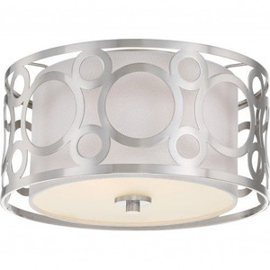 Nuvo Lighting 60-5942 Filigree Brushed Nickel 2 Light Flush Fixture With White Linen Shade Brushed Nickel