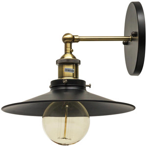 Sunlite Canopy Classic Collection Wall Sconce Vintage Antique Style Fixture, Antique Brass Finish