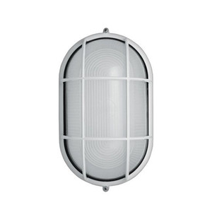13W LED White Industrial Oval Grid Outdoor Dual Mount Sconce 4000K