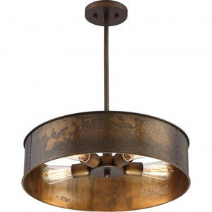 Nuvo Lighting 60-5894 Kettle Weathered Brass 4 Light Pendant With 60w Vintage Lamps Inc.