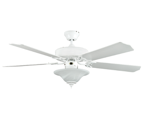 "Sunset CF52878-30-L 52"" 5-White Blades White Heritage Square Ceiling Fan with Light Kit"
