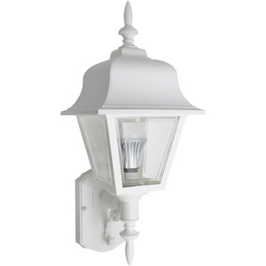 26W CFL Traditional White Porch Light Clear Lens Coach Style Fixture 3500K