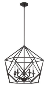 Sunset F3419-64 Harmony Provincial Bronze Metal 5 Light Cage Pendant