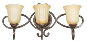 Sunset F5293-61 Graham Sandlewood Glass 3 Light Vanity Light Sconce Fixture