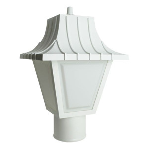 9W LED White Mansard Outdoor Textured White Lens Post Lantern Light 3000K